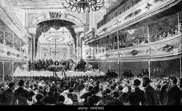 Illustration depicting Henry Brougham opening the Social Science Congress - Stock Image