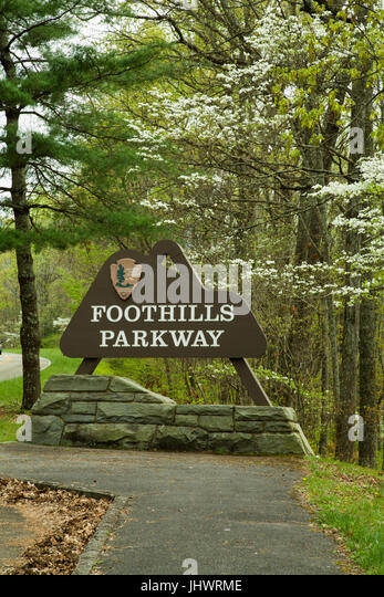 Sign on the Foothills Parkway in East Tennessee - Stock Image