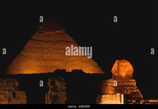 Egypt sphinx and pyramid sound and light show - Stock Image