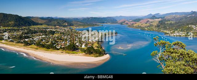 View over Pauanui from Paku Hill Tairua North Island New Zealand - Stock Image