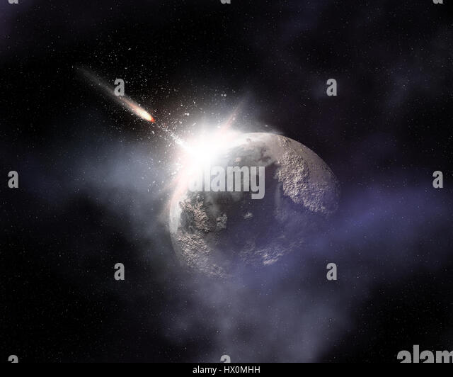 Fictional space background with comet flying towards fictional planet - Stock Image