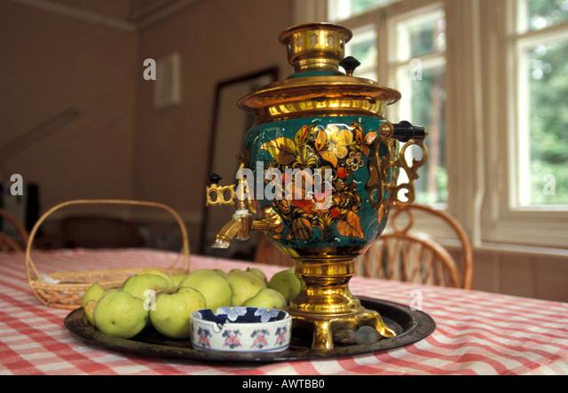 Russia Boris Pasternak Home Kitchen Samovar Peredelkino - Stock Image