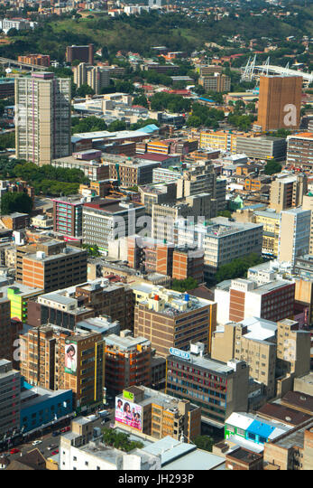 Johannesburg cityscape from the top of the Carlton Centre, Johannesburg, South Africa, Africa - Stock Image