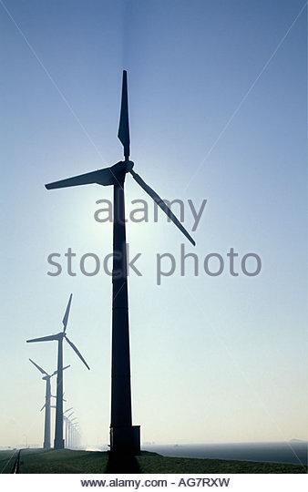 Netherlands Eemshaven Wind turbines - Stock Image