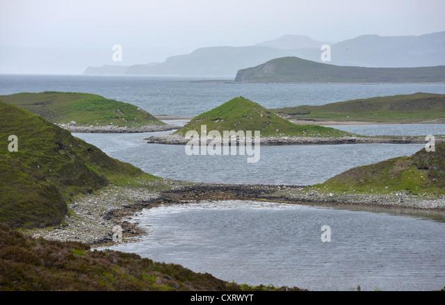 Landscape shaped during the glacial epoch, Loch Eirboll, Tongue, Caithness, Sutherland, Scotland, United Kingdom, - Stock-Bilder