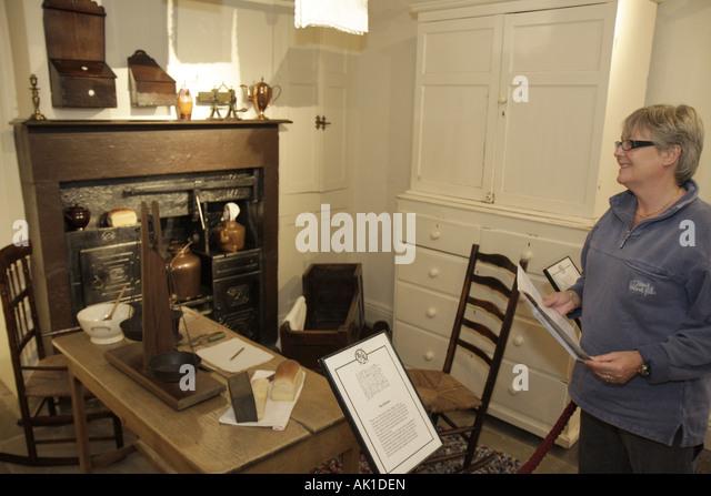 England UK Haworth Church Street Bronte Parsonage Museum Bronte Sisters writers novelists kitchen - Stock Image