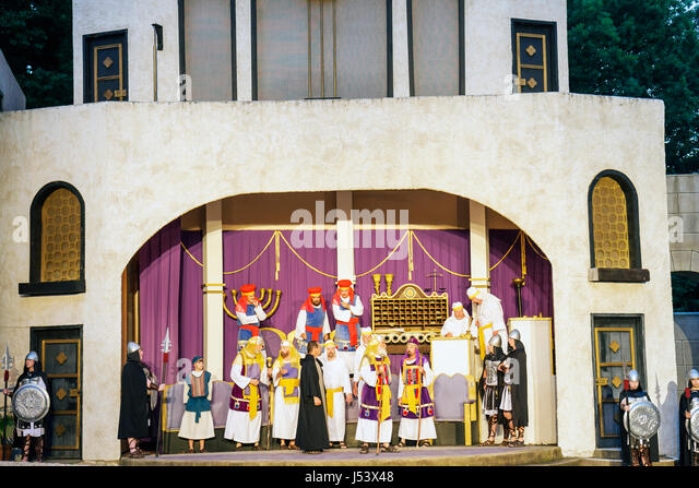 Arkansas Eureka Springs New Great Passion Play actor costume biblical character stage New Testament religion entertainment - Stock Image