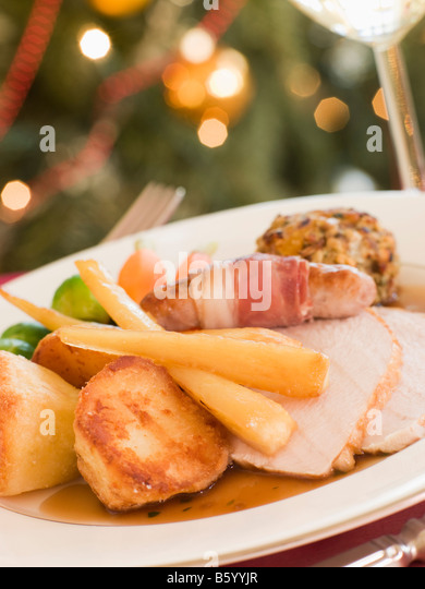 Traditional Roast Turkey with trimmings Plated - Stock Image