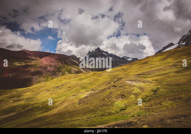 Ausangate views in Peru near Rainbow mountains - Stock Image