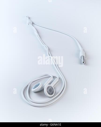 Earphones forming a musical note shape - 3D illustration - Stock-Bilder
