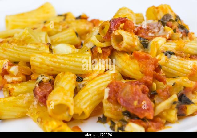 Baked Pasta Mozzarella Tomato Sauce Stock Photos & Baked ...
