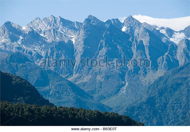 The Southern Alps from the Whataroa River, South Island, New Zealand - Stock Image