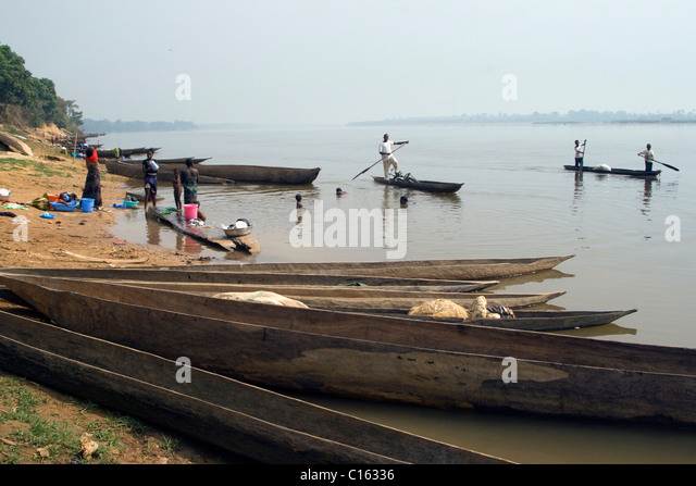 Ubangi River ,Betou ,Republic of the Congo - Stock-Bilder