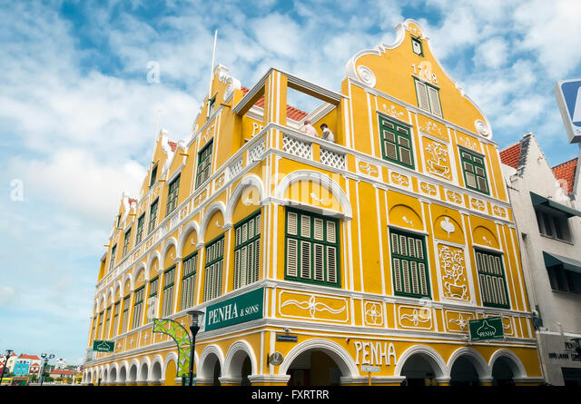 Penha House is the iconic symbol of the Handelskade or waterfront in Willemstad Curacao - Stock Image