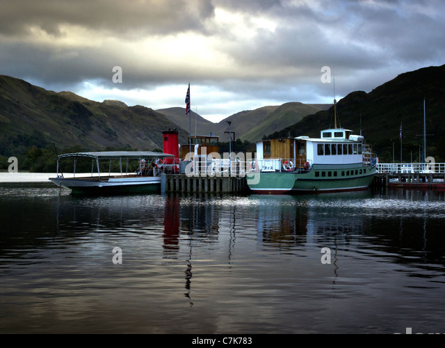 Ullswater steamers at Glenridding on Lake Ullswater, Lake District, Cumbria, England - Stock Image
