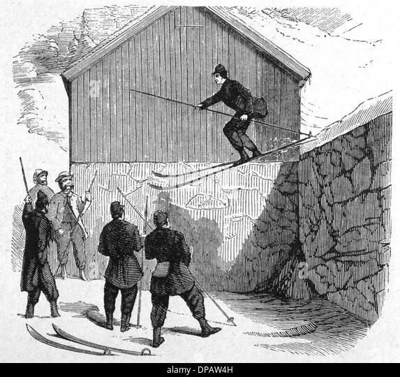 NORWEGIAN SKI JUMP 1862 - Stock Image