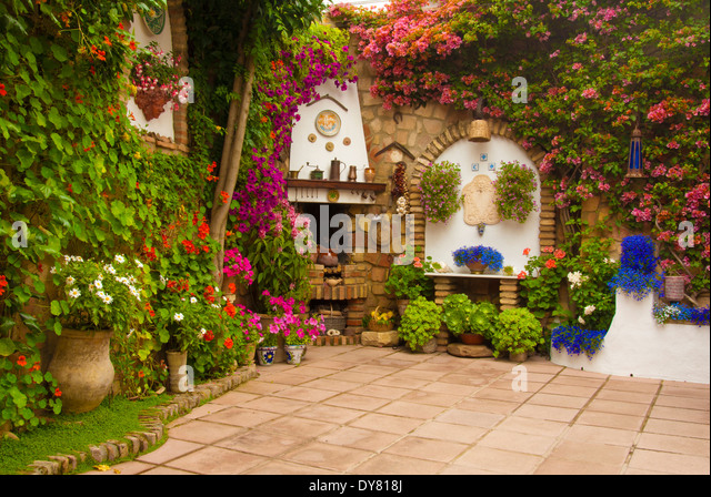 May Patio Festival in Cordoba, Andalucia Spain Patios de Mayo flowers - Stock Image