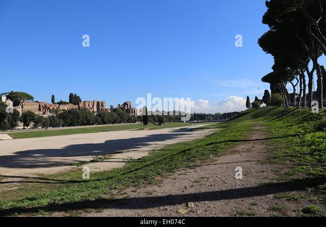 Italy. Rome. Circus Maximus. Ancient Roman chariot racing stadium. View. Ruins. - Stock Image