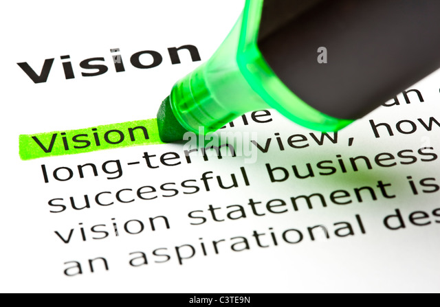 The word 'Vision' highlighted in green with felt tip pen - Stock-Bilder