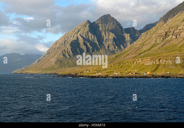 Buildings along the Seyoisfjord foreshore, Iceland, North Atlantic, Europe - Stock Image