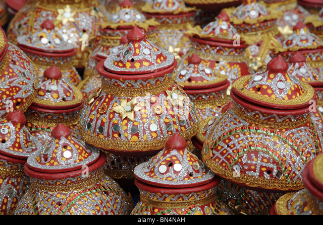 Navaratri dandiya garba Festival; Decorative earthen pot ; Ghatkopar ; Bombay Mumbai ; Maharashtra ; India - Stock Image