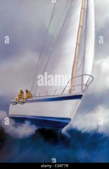 Two sailors enjoy the excitement of rough seas and the ride of a sailboat heeling over. - Stock-Bilder