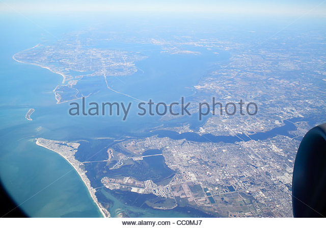 Florida Tampa Bay Manatee River Bradenton Sunshine Skyway Bridge Anna Maria Island Gulf of Mexico aerial American - Stock Image