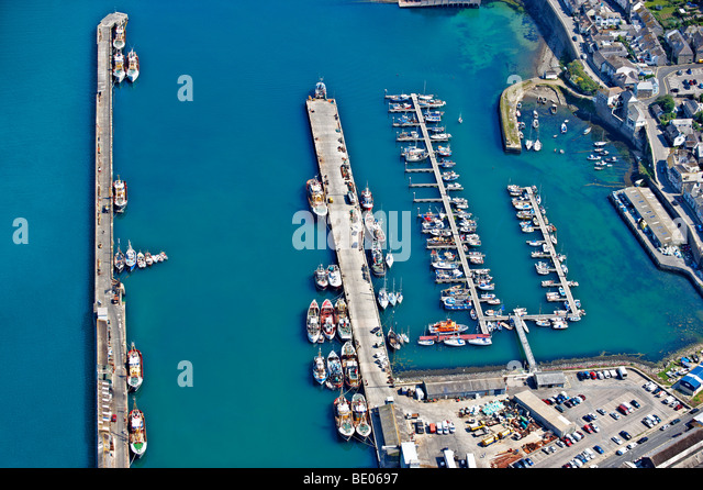 Aerial view of English fishing harbour - Stock Image