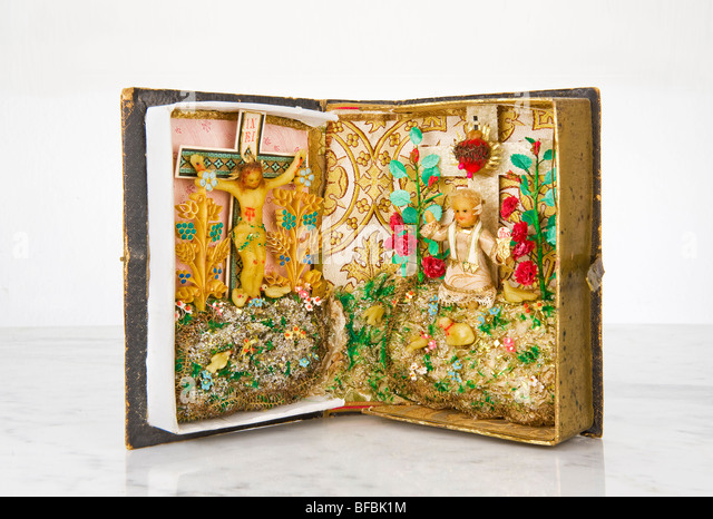 altar in an old family book antique antiquity religion religious religiousness devoutness valuable precious piety - Stock Image