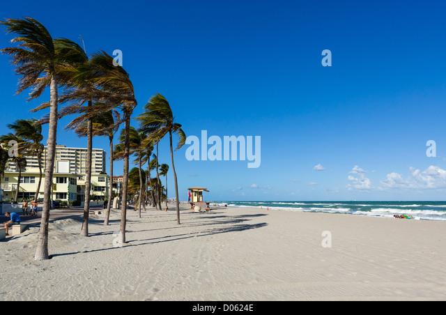 Beach at Hollywood, near Fort Lauderdale, Broward County, Gold Coast, Florida, USA - Stock Image