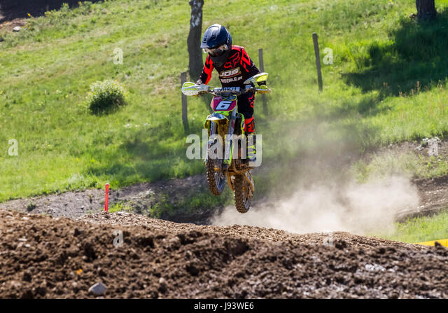 Motocross Kleinhau - 2nd heat Kids 50 - 65ccm DAM Meisterschaft - 27th of May 2017 - Kleinhau, Hürtgen, North - Stock Image