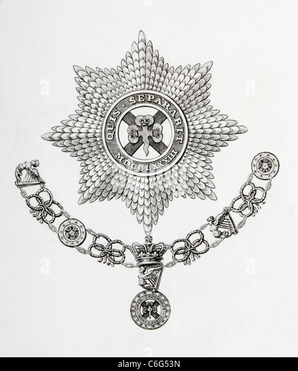 Star, Collar and Badge of the Order of St. Patrick. - Stock Image