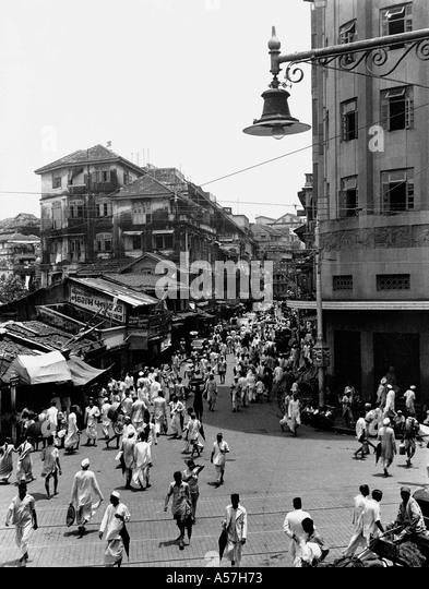Old vintage 1900s Kalbadevi Road Bombay Mumbai Maharashtra India 1947 - Stock Image