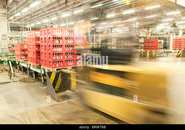 Forklift truck in high speed - Stock Image