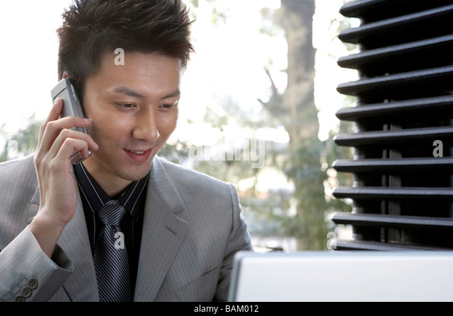 Businessman Talking On Cellphone And Using Laptop - Stock Image