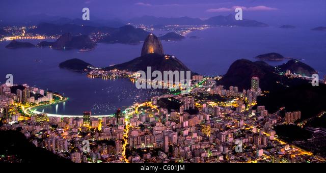 Brasil,Rio de Janeiro, Pao de Acucar, Botafogo bay at night, view from Mt. corcovado 710m, - Stock Image