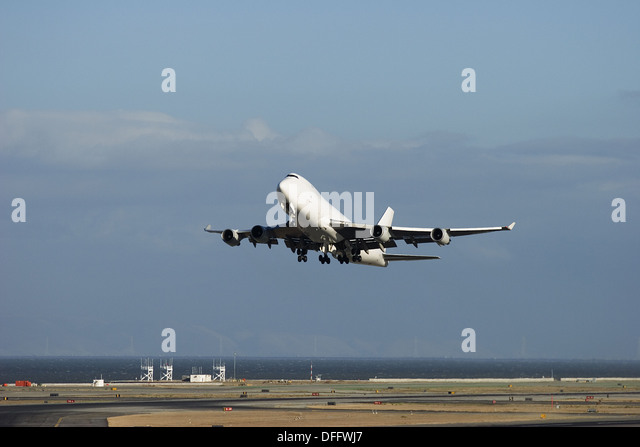 Unmarked Boeing 747 during take off - Stock Image