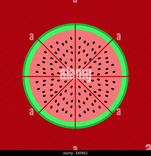 Pie chart graphic on red background - Stock-Bilder