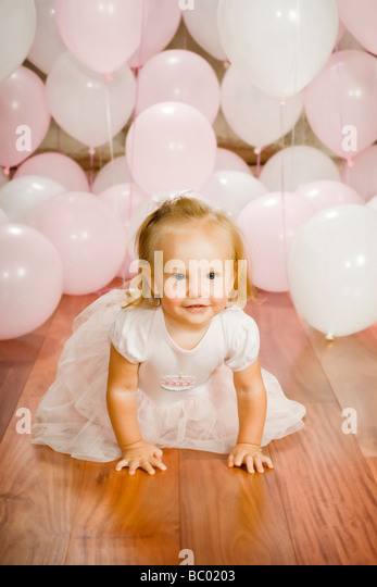 one year baby portrait - Stock Image