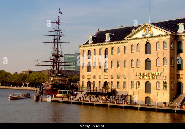 Amsterdam Amsterdam Maritime Musem Replica of East Indian vessel Amsterdam - Stock Image
