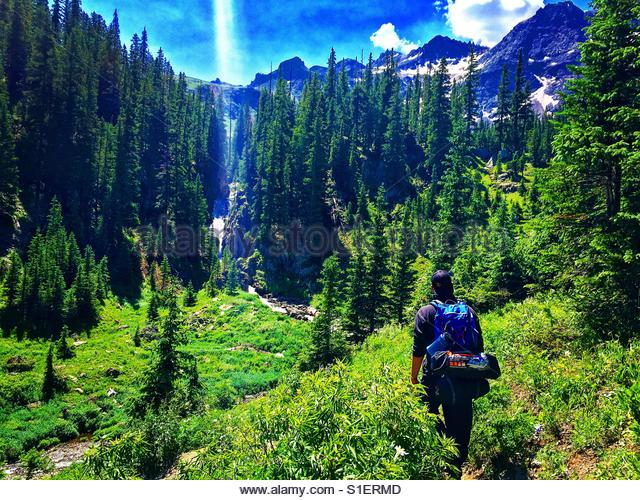 Wilderness hiking in bear country - Stock Image