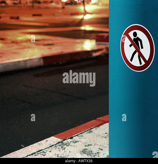No pedestrian sign, night - Stock Image