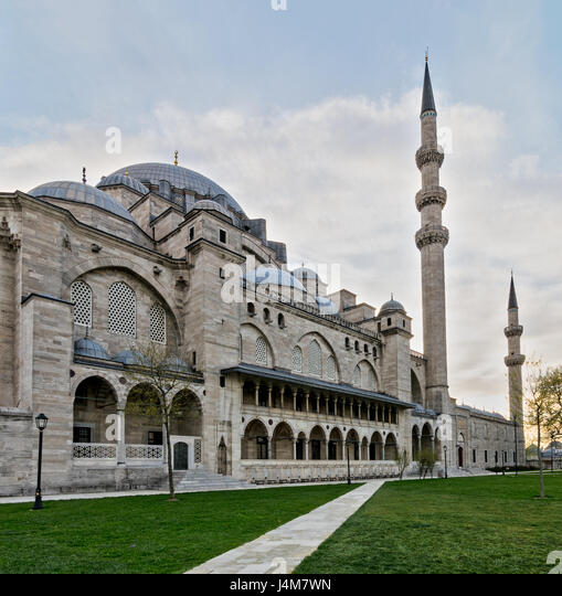 Exterior day angled shot of Suleymaniye Mosque, an Ottoman imperial mosque located on the Third Hill of Istanbul, - Stock Image