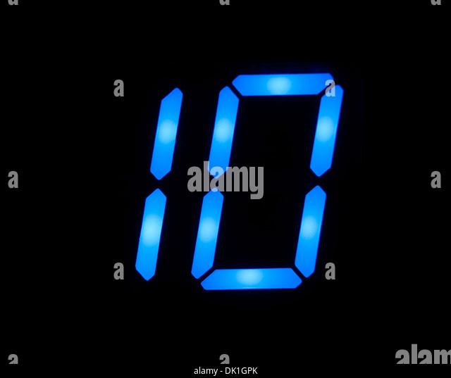 Blue digital number 10 - Stock Image