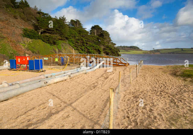 Loe Pool Overflow at Loe Bar; to Counteract Flooding in Helston; Winter 2012; Cornwall - Stock Image