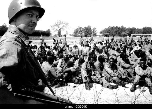 Belgian paratroopers standing guard over mutinous soldiers 1961 Congo (Zaïre) - Stock-Bilder