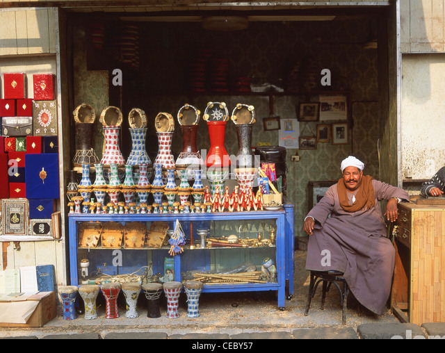 Shop in Khan el-Khalili Ancient Bazaar, Cairo, Cairo Governorate, Republic of Egypt - Stock Image