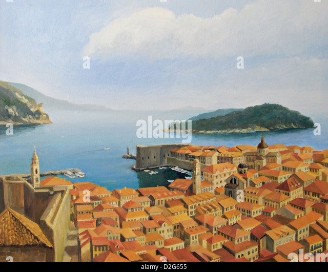 An oil painting on canvas of a beautiful panoramic view from the highest point of the city wall, toward old town - Stock-Bilder