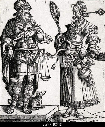 Cornelis Anthonisz. Allegory of the wise man and the wise woman 28c. 153029 - Stock Image