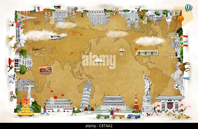 Map And International Landmark - Stock-Bilder